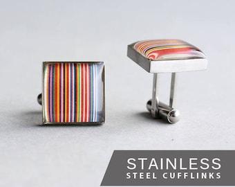 Barcode Flag Cufflink, Surgical Steel Cuff Link, EU Flag Cuff Link,  Multicolor Cufflink