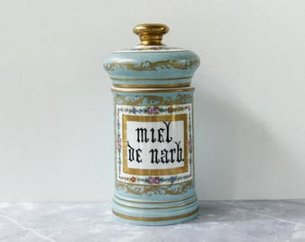 "Huge French Antique Apothecary Jar...Super Large, height 10.1/4""....Hand Painted Paris Porcelian...Aqua and Gold Decoration....RARE"