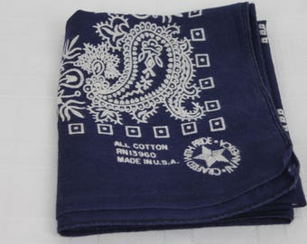 Vintage Bandana Blue Made In USA Soft