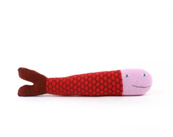 Finn the Fish - soft knitted lambswool toy, kids toy, plush toy