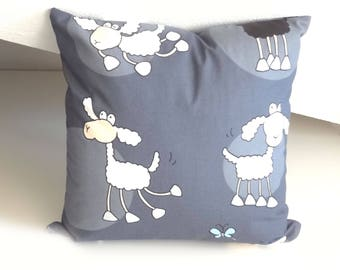 Kid cushion with sheep, decorative pillow, child pillow, grey pillow, OOAK