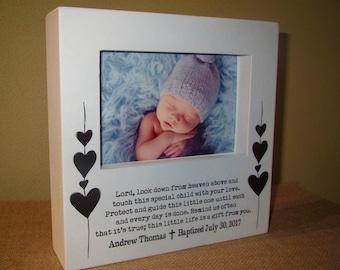 Baptism Gift for boy Personalized Picture Frame Godchild Godson Baptism Christening Dedication Baby GIFT Prayer Sign or Decoration