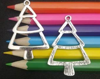 10 PCS - Christmas Tree Pine Outline Silver Charm Pendant C0385