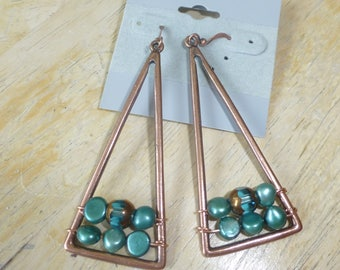 Copper Beaded Pierced earrings