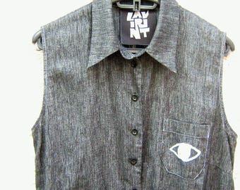 My eyes have seen you - Gray Linen Eye Shirt/Tunic