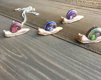Racing Snails - Silver Necklace - Made To Order, Choose Your Color and Number