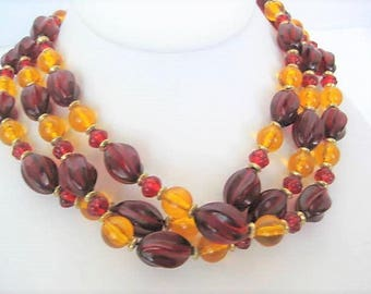 Red Yellow Bead Necklace - 3 Strand  Plastic - Vintage Lucite  Beads