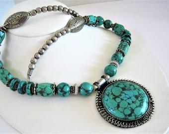 Howlite Silver Necklace - Southwestern Boho - Vintage Squash Blossom Style  - Turquoise Color Medallion -