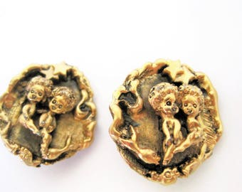 Tortolani Zodiac Earrings - Gemini Twins - Gold Tone Repousse - Clip Ons