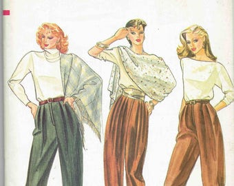 80s Vogue Pleated Pants and Knickers Pattern 8146. Tapered Pants or Knickers, Side Pockets, Button Waistband. SIze 10 Waist 25 in.