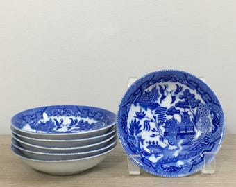Vintage Blue Willow Japan Set of Six Porcelain Dishes Bowls Asian Decor