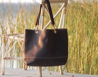 Rugged Dark Brown Leather Handbag with Brass Hardware, Leather Tote Bag, Leather Shoulder Bag