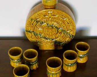 Vintage Mayan Design Tequila Jug with 6 Shot Glasses