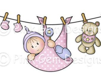 Digi Stamp Baby Washing Line. Black Line Art Work +  Pre Coloured files in Both Pink & Blue Included. New Baby. Baby Shower