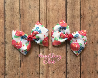 Floral pigtail Bows Summer Infant Toddler Hairbow Pink White Blue starter set alligator hair clip clippies
