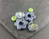 Lilac and green earring inspiration pack. Handmade lampwork glass. Earring pairs.