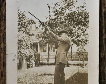 Original Vintage Photograph The Marksman
