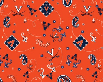 University of Virginia Cotton Fabric with Bandanna design-100% Cotton Design-Officially Licensed-Sold by the Yard