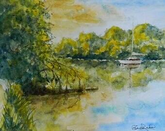 SALE Boat on the Delta, original watercolor sail boat art Sacramento river delta