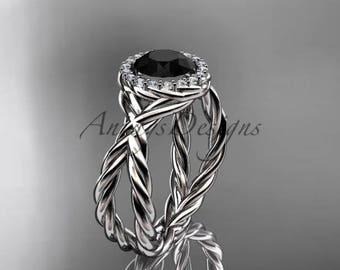 platinum diamond rope engagement ring with a Black Diamond center stone RP889