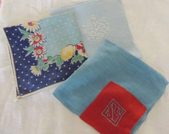 """THREE Vintage BLUE Cotton Hankies for Crafts Quilting """"E"""" Initial """"B"""" Initial Quilt Hankies Craft Fabric"""