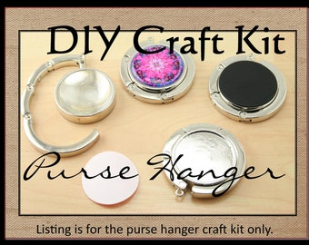 30mm Purse Hangers, Optional Glass Domes (1),  Sticky Adhesive Seals (1 or 2). Pick Your Supplies. Sold as Single Kits.