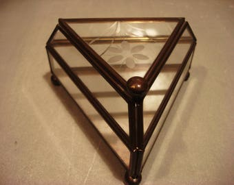 Vintage Antique Triangle Glass and Mirrored Jewelry Box