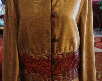 Vintage 1990s Olive Green Gold Stonebridge Embroidered Blazer