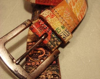 Vintage 1990s FOSSIL Genuine Distressed Leather Patch Collage Belt