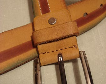 Vintage 1990s Leather Butter Tan Belt with Burgundy Brown Mid Stripe