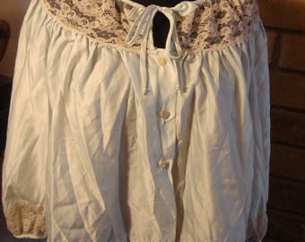 RESERVED Angie Vintage Pale Blue Bed Jacket with Lace Trim