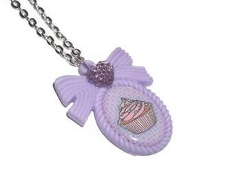 Cupcake Cameo Necklace, Kawaii Lavender Pastel Pendant