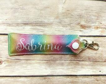 Personalized Rainbow Glitter Lipgloss Holder - Lipstick Case - Long Size
