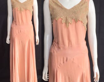 Early 1930s silk evening gown with Brussels lace