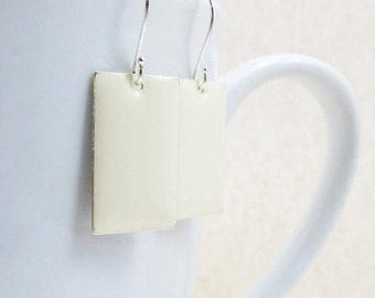 40% OFF Dangle Drop Earrings - Creamy White Epoxy Enamel Rectangles - Sterling Silver Plated over Brass (F-7)