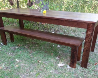 Walnut Long, Thin Parson's Table & Bench