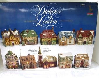 Vintage Dickens of London Miniature 10 Piece Christmas Village, Vintage Dickens Christmas Village Collectors, Original Box Great Condition,