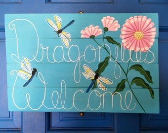 "Dragonflies Welcome Sign, Decorative Sign, Patio Decor, Door Sign, Custom Oder Only, Hand Painted Sign, Wooden Wall Sign, 14"" x 9 1/2"""