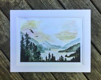 Alaskan Lake - Matted Original Watercolor Landscape Painting by Em Campbell