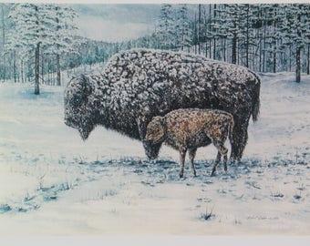 Buffalo Print Buffalo and Calf Snow Scene Nature Landscape Wall Art Watercolor Painting Art Print