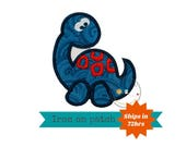 Blue green with red  dinosaur - Iron embroidered fabric applique patch embellishment-ready to ship