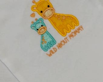 ON SALE NOW Wild about mommy, momma and baby giraffe, yellow and blue baby body suit embroidered details- Pre-made, Ready to ship