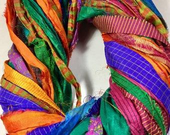 Printed Recycled Sari Silk Ribbon 309 Multi Colored Jewelry Tassel Dreamcatcher Supply Sari Wrap Bracelet Fair Trade Weave Fiber Art Supply