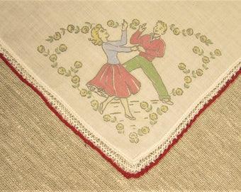 Dancing Crochet Hankie - Vintage Red Trim Handkerchief