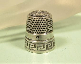 Greek Key Thimble - Vintage Simons Brothers Co Sterling Silver