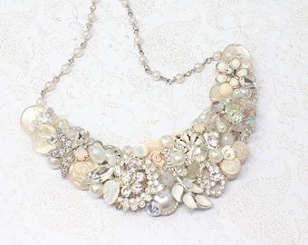 Bridal Statement Necklace- Vintage-Inspired Wedding Necklace- Ready to ship- Brass Boheme-Ivory Bridal Bib Necklace- Vintage Brooch Necklace