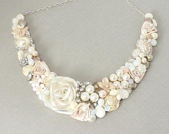 Blush Pink Necklace- Romantic Bridal Bib- Wedding Necklace- Pale Pink Necklace- Blush Pink Bib- Light Pink Necklace-Blush Statement Necklace