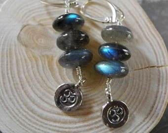Long Labradorite Earrings, Beaded Dangle Earrings, Ohm Symbol Earrings, Ohm Jewelry, AAAA Blue Labradorite, Aurora Borealis, Long Earrings