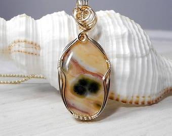 Ocean Jasper Pendant, Gold Wire Wrap, Orbicular Madagascar Jasper, Ocean Jasper Jewelry, Healing Ocean Jasper, Rare Jasper Necklace