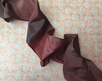 Very Pretty French Ribbon in Cocoa Color with Touch of Mossy Green by the Yard